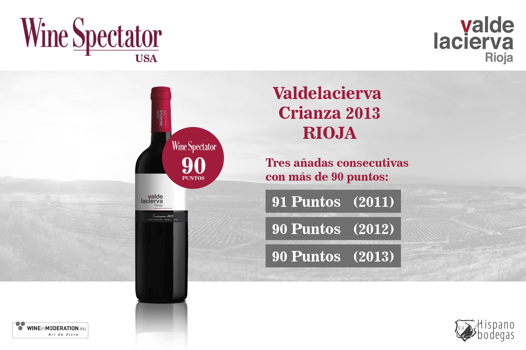 Valdelacierva crianza 2013 obtiene 90 puntos en Wine Spectator